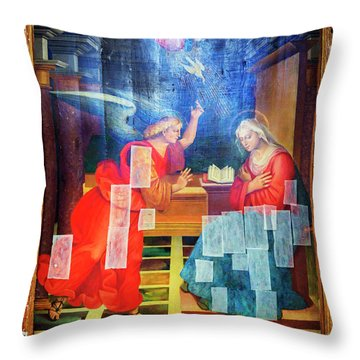 Throw Pillow featuring the photograph Angel Speaking To Mary by Craig J Satterlee
