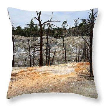 Angel Terrace At Mammoth Hot Springs Yellowstone National Park Throw Pillow by Louise Heusinkveld