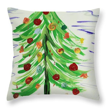 Throw Pillow featuring the painting Angel Topper by Mary Carol Williams