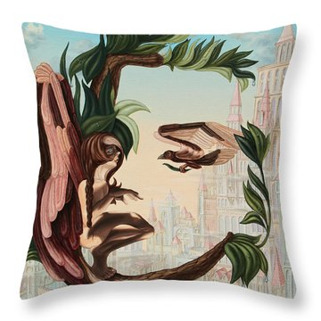 Angel, Watching The Reincarnation Of Marilyn Monroe On The Swinging City Towers Throw Pillow