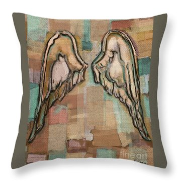 Throw Pillow featuring the painting Angel Wings by Carrie Joy Byrnes