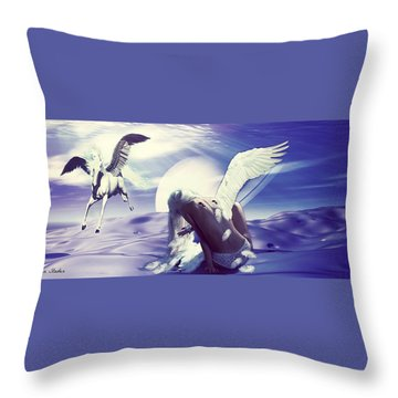 Angel With A Broken Wing Throw Pillow by Riana Van Staden