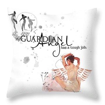 Angel With A Tough Job Throw Pillow