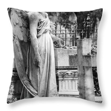 Angel With Cross Of Bonaventure Cemetery Throw Pillow