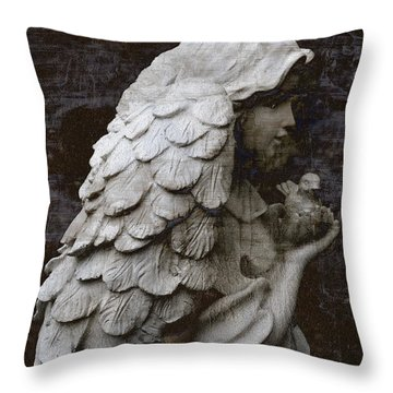 Angel With Dove Of Peace - Angel Art Textured Print Throw Pillow