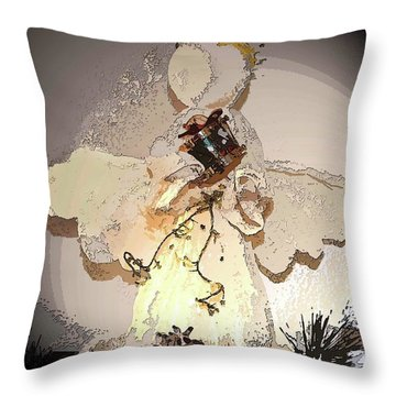 Angel With Drum Throw Pillow