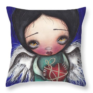 Angel With Heart Throw Pillow