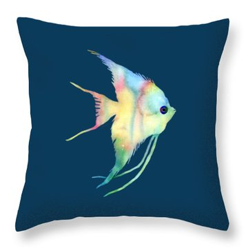 Angelfish I - Solid Background Throw Pillow