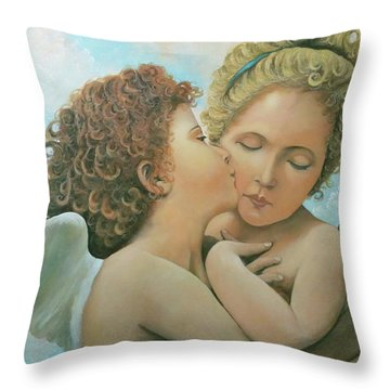 Throw Pillow featuring the painting Bouguereau Angels- My Adaptation by Rosario Piazza