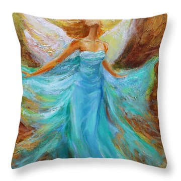 Throw Pillow featuring the painting Angelic Rising by Jennifer Beaudet