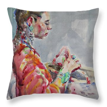 Angelica Throw Pillow by Becky Kim