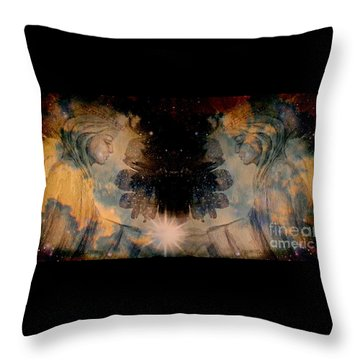 Angels Administering Spiritual Gifts Throw Pillow by Leanne Seymour