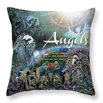 Angels Throw Pillow by Evie Cook