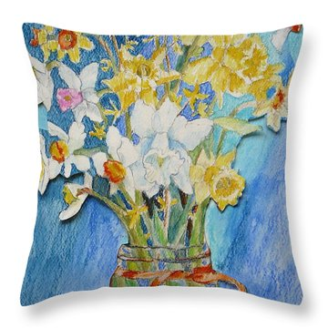 Angels Flowers Throw Pillow by Jan Bennicoff