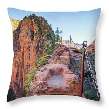 Angels Landing Hiking Trail Throw Pillow by JR Photography