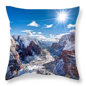 Angels Landing In Winter Throw Pillow