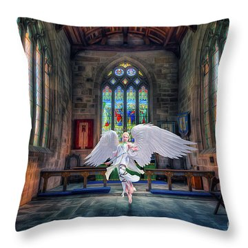 Angels Love And Guidance Throw Pillow