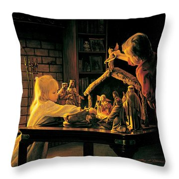 Throw Pillow featuring the painting Angels Of Christmas by Greg Olsen