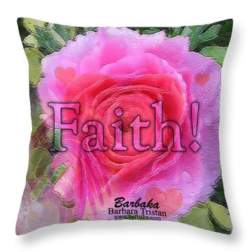 Throw Pillow featuring the photograph Angels Pink Rose Of Faith by Barbara Tristan