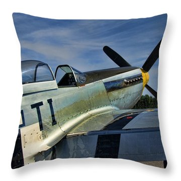 Angels Playmate P-51 Throw Pillow by Steven Richardson