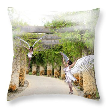 Angels Under The Arbor Throw Pillow