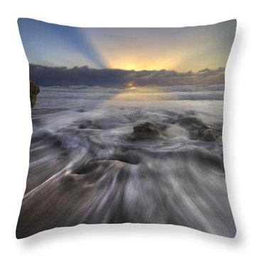 Angel's Walk Throw Pillow by Debra and Dave Vanderlaan