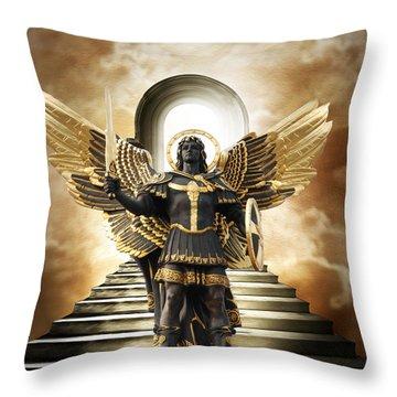 Throw Pillow featuring the digital art Angels Watching Over Me by Karen Showell