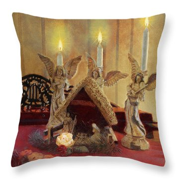 Throw Pillow featuring the painting Angels Watching Over by Nancy Lee Moran