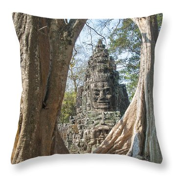 Angkor Thom South Gate Throw Pillow