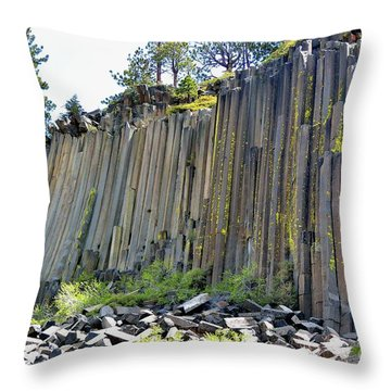 Angle View Desert Postpile Throw Pillow