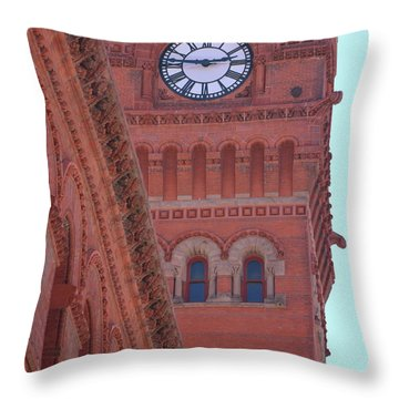 Angled View Of Clocktower At Dearborn Station Chicago Throw Pillow