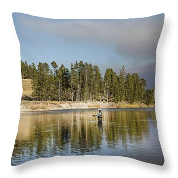 Angler Amidst Gorgeous Surroundings And A Calm River In The Yellowstone In Wyoming Throw Pillow
