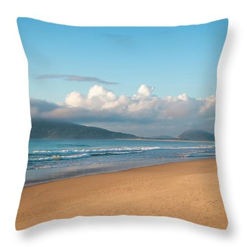 Angler Fishing At Dawn Throw Pillow by Lana Enderle