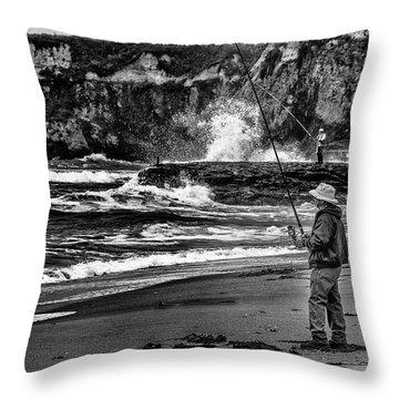 Angler On The Beach Throw Pillow
