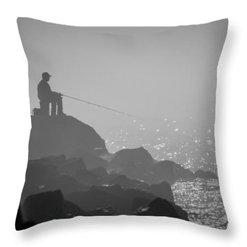 Angling In A Fog  Throw Pillow