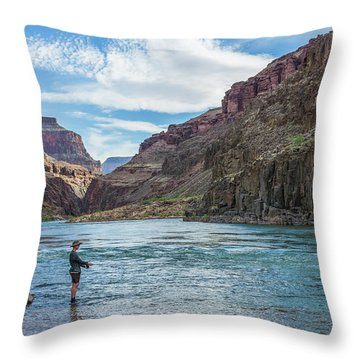 Throw Pillow featuring the photograph Angling On The Colorado by Alan Toepfer