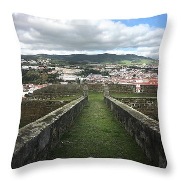 Angra Do Heroismo From The Fortress Of Sao Joao Baptista Throw Pillow