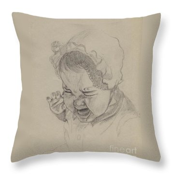 Throw Pillow featuring the drawing Angry by Annemeet Hasidi- van der Leij