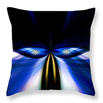 Angry Blue Bird Throw Pillow
