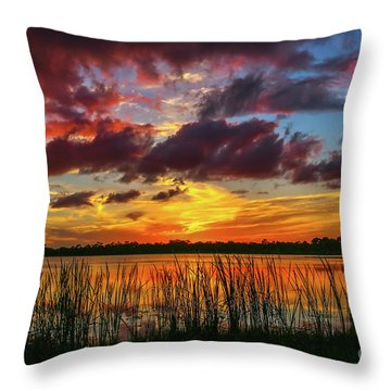 Angry Cloud Sunset Throw Pillow