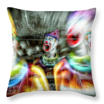 Throw Pillow featuring the photograph Angry Clowns by Wayne Sherriff
