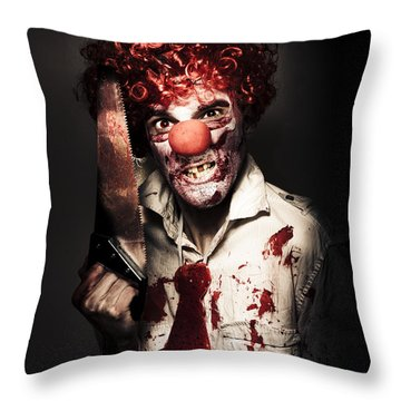 Angry Horror Clown Holding Butcher Saw In Darkness Throw Pillow by Jorgo Photography - Wall Art Gallery