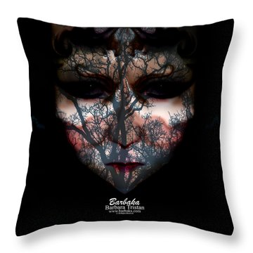 Angry Monster Child #4 Throw Pillow by Barbara Tristan