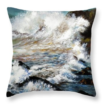 Throw Pillow featuring the painting Angry Sea by Walter Fahmy