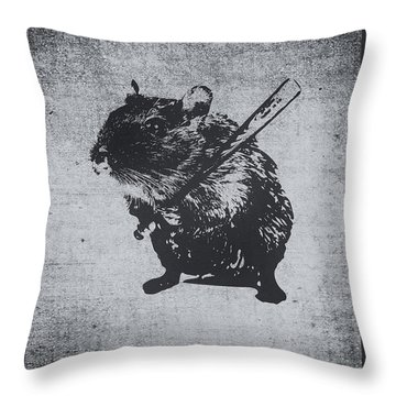 Angry Street Art Mouse  Hamster Baseball Edit  Throw Pillow by Philipp Rietz