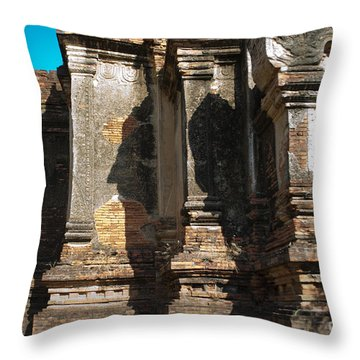 Throw Pillow featuring the photograph Angular Corner Of Temple In Burma With Sunny Blue Sky by Jason Rosette