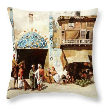 Angurie In Cortile Throw Pillow