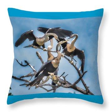 Anhinga Feeding Time Throw Pillow