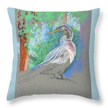 Anhinga Sarasota Plein Air Throw Pillow