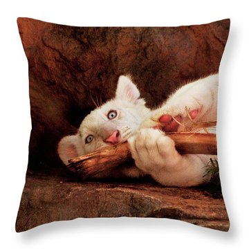 Animal - Cat - My Chew Toy Throw Pillow by Mike Savad